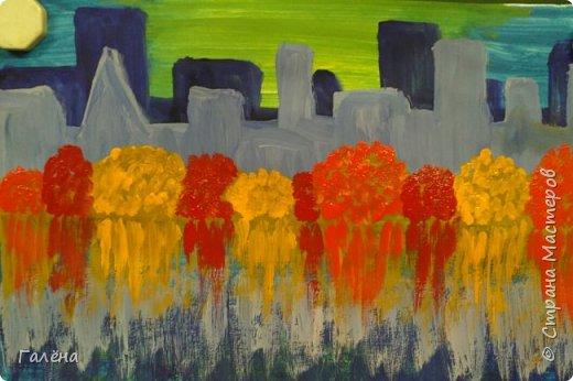 Предлагаю начинающим юным художникам попробовать свои силы в написании городского пейзажа.Для рисования нам понадобится бумага формата А-3,гуашь 12 цветов,толстая кисть плоская щетина номер 12 . фото 14