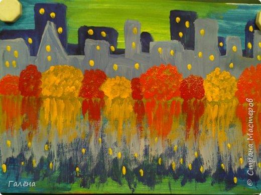 Предлагаю начинающим юным художникам попробовать свои силы в написании городского пейзажа.Для рисования нам понадобится бумага формата А-3,гуашь 12 цветов,толстая кисть плоская щетина номер 12 . фото 15