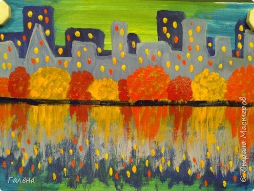 Предлагаю начинающим юным художникам попробовать свои силы в написании городского пейзажа.Для рисования нам понадобится бумага формата А-3,гуашь 12 цветов,толстая кисть плоская щетина номер 12 . фото 17