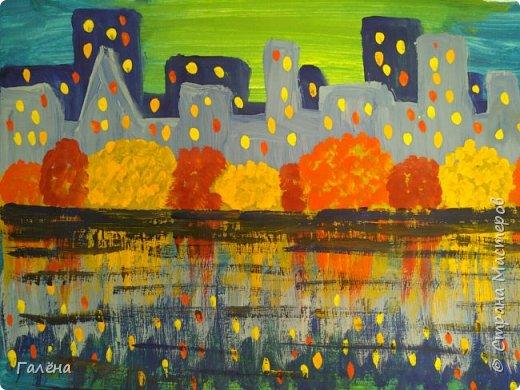 Предлагаю начинающим юным художникам попробовать свои силы в написании городского пейзажа.Для рисования нам понадобится бумага формата А-3,гуашь 12 цветов,толстая кисть плоская щетина номер 12 . фото 18