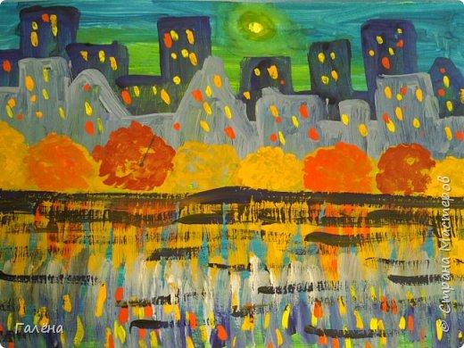Предлагаю начинающим юным художникам попробовать свои силы в написании городского пейзажа.Для рисования нам понадобится бумага формата А-3,гуашь 12 цветов,толстая кисть плоская щетина номер 12 . фото 21
