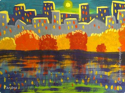 Предлагаю начинающим юным художникам попробовать свои силы в написании городского пейзажа.Для рисования нам понадобится бумага формата А-3,гуашь 12 цветов,толстая кисть плоская щетина номер 12 . фото 20