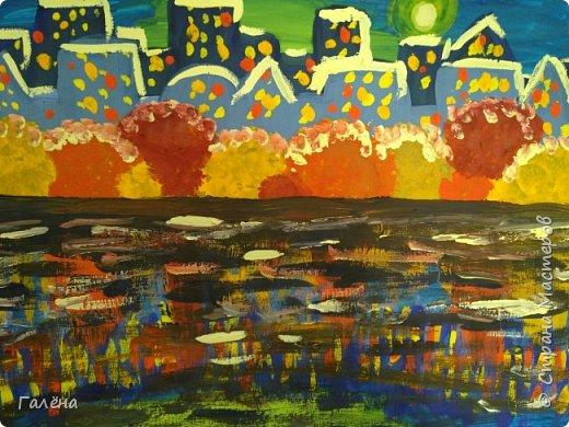 Предлагаю начинающим юным художникам попробовать свои силы в написании городского пейзажа.Для рисования нам понадобится бумага формата А-3,гуашь 12 цветов,толстая кисть плоская щетина номер 12 . фото 23