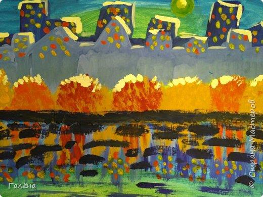 Предлагаю начинающим юным художникам попробовать свои силы в написании городского пейзажа.Для рисования нам понадобится бумага формата А-3,гуашь 12 цветов,толстая кисть плоская щетина номер 12 . фото 22