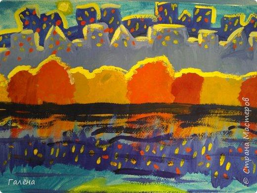 Предлагаю начинающим юным художникам попробовать свои силы в написании городского пейзажа.Для рисования нам понадобится бумага формата А-3,гуашь 12 цветов,толстая кисть плоская щетина номер 12 . фото 24