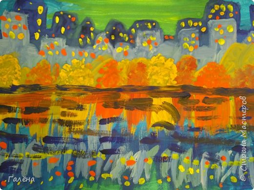Предлагаю начинающим юным художникам попробовать свои силы в написании городского пейзажа.Для рисования нам понадобится бумага формата А-3,гуашь 12 цветов,толстая кисть плоская щетина номер 12 . фото 27