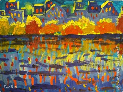 Предлагаю начинающим юным художникам попробовать свои силы в написании городского пейзажа.Для рисования нам понадобится бумага формата А-3,гуашь 12 цветов,толстая кисть плоская щетина номер 12 . фото 26