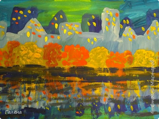 Предлагаю начинающим юным художникам попробовать свои силы в написании городского пейзажа.Для рисования нам понадобится бумага формата А-3,гуашь 12 цветов,толстая кисть плоская щетина номер 12 . фото 28