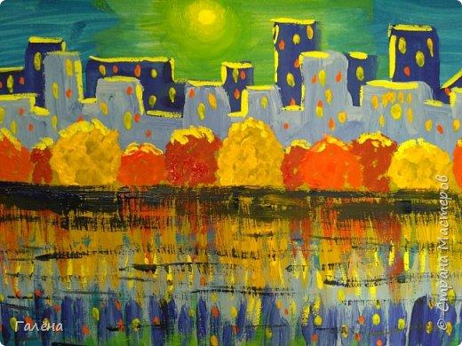 Предлагаю начинающим юным художникам попробовать свои силы в написании городского пейзажа.Для рисования нам понадобится бумага формата А-3,гуашь 12 цветов,толстая кисть плоская щетина номер 12 . фото 1