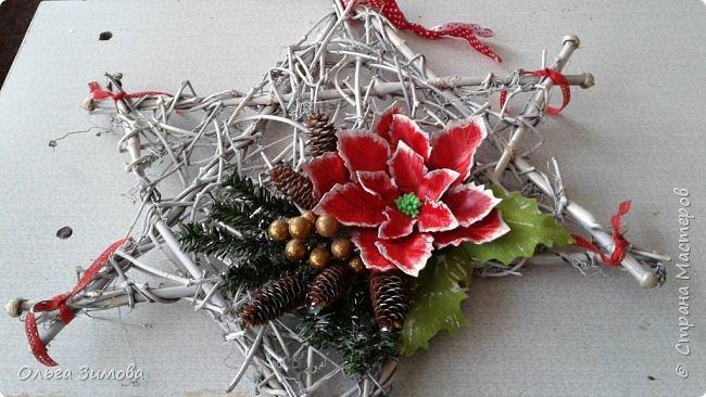 """Работы на конкурс """"Рождественская звезда"""" Номинация Вифлеемская звезда. На этот раз я тоже решила принять участие в конкурсе и это моя работа. Сама звезда сплетена из виноградной лозы а цветок паунсентии из кожи. фото 3"""