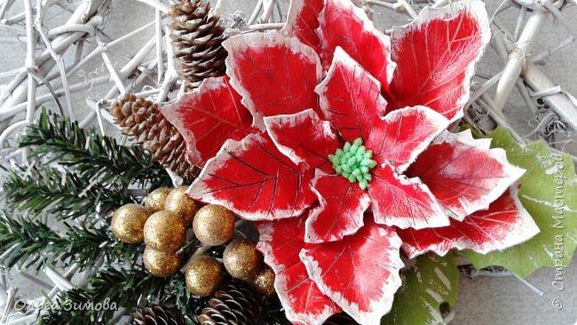 """Работы на конкурс """"Рождественская звезда"""" Номинация Вифлеемская звезда. На этот раз я тоже решила принять участие в конкурсе и это моя работа. Сама звезда сплетена из виноградной лозы а цветок паунсентии из кожи."""