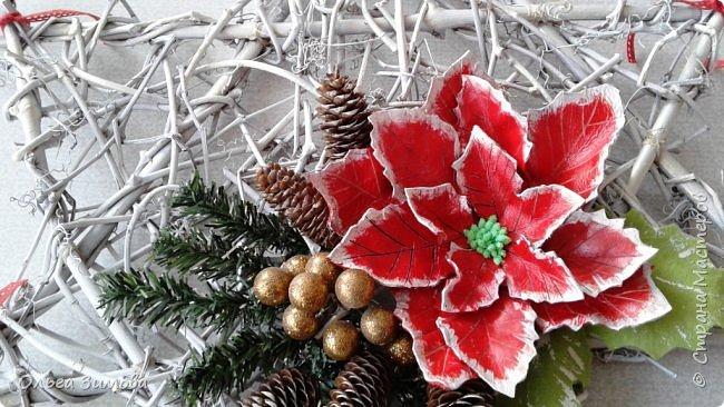 """Работы на конкурс """"Рождественская звезда"""" Номинация Вифлеемская звезда. На этот раз я тоже решила принять участие в конкурсе и это моя работа. Сама звезда сплетена из виноградной лозы а цветок паунсентии из кожи. фото 4"""