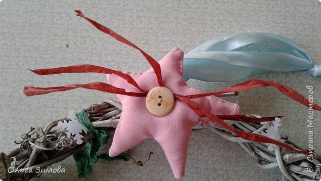 """Работы на конкурс """"Рождественская звезда"""" Номинация Вифлеемская звезда. На этот раз я тоже решила принять участие в конкурсе и это моя работа. Сама звезда сплетена из виноградной лозы а цветок паунсентии из кожи. фото 10"""