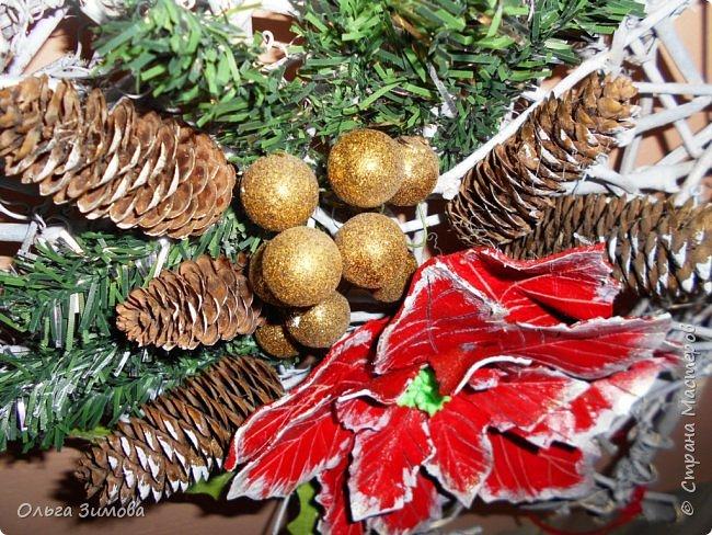 """Работы на конкурс """"Рождественская звезда"""" Номинация Вифлеемская звезда. На этот раз я тоже решила принять участие в конкурсе и это моя работа. Сама звезда сплетена из виноградной лозы а цветок паунсентии из кожи. фото 5"""