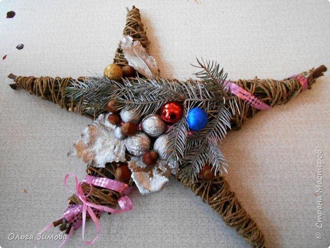 """Работы на конкурс """"Рождественская звезда"""" Номинация Вифлеемская звезда. На этот раз я тоже решила принять участие в конкурсе и это моя работа. Сама звезда сплетена из виноградной лозы а цветок паунсентии из кожи. фото 6"""