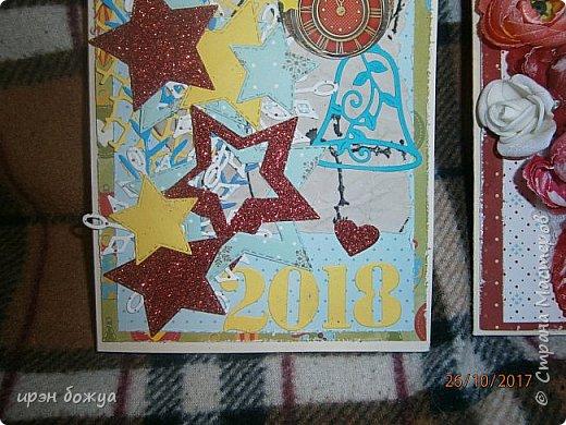 Сегодня я с открытками. Обе сделаны в предверии нового года, только красненькая выполняла роль двух открыток сразу- и на Новый годи и на день Рождение.  фото 2