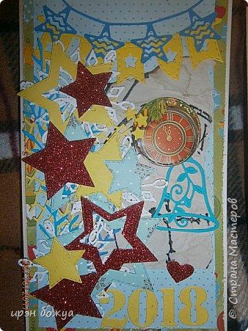 Сегодня я с открытками. Обе сделаны в предверии нового года, только красненькая выполняла роль двух открыток сразу- и на Новый годи и на день Рождение.  фото 3