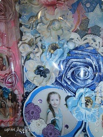 Я с продолжением фоторамок. Первую я выложила раньше-это розовая(слева).Смотреть тут https://stranamasterov.ru/node/1127110 . После сделала еще две в подарки на Новый год. Розовая-свадебная, синяя и персиковая с детками. И так смотрим синюю и персиковую. фото 3