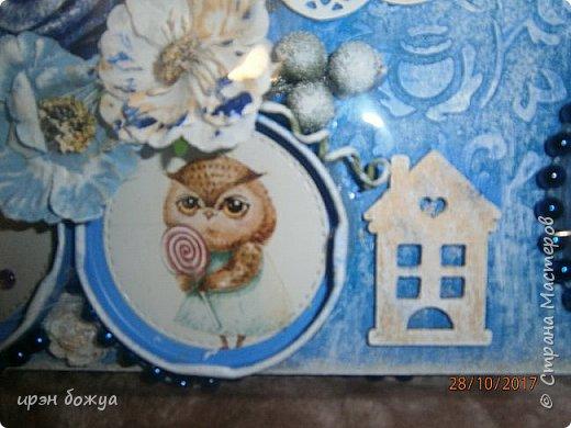 Я с продолжением фоторамок. Первую я выложила раньше-это розовая(слева).Смотреть тут https://stranamasterov.ru/node/1127110 . После сделала еще две в подарки на Новый год. Розовая-свадебная, синяя и персиковая с детками. И так смотрим синюю и персиковую. фото 4