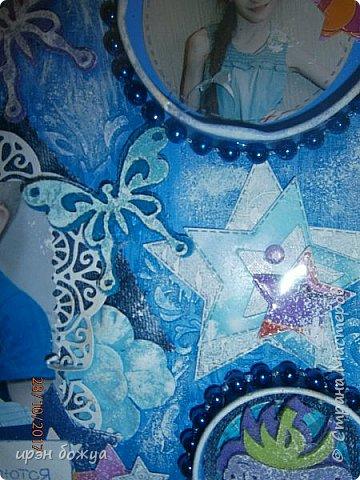 Я с продолжением фоторамок. Первую я выложила раньше-это розовая(слева).Смотреть тут https://stranamasterov.ru/node/1127110 . После сделала еще две в подарки на Новый год. Розовая-свадебная, синяя и персиковая с детками. И так смотрим синюю и персиковую. фото 5