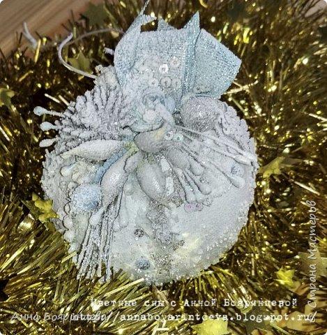 Всем привет!!! У меня еще один набор шариков из прошлого года, которые еще не показала. Делала тоже на подарок. Теперь в голубом оформлении. На шариках голубые блестки и голубой декор.   фото 5