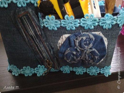 Сделала себе органайзер из старых джинсов. фото 2