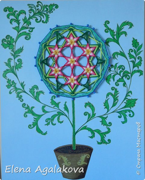 """Сегодня я """"посадила"""" свой «Цветок жизни». Пусть цветет и вносит гармонию в жизнь! Эту мандалу я сплела еще весной https://stranamasterov.ru/node/1097178 , а сейчас захотелось оформить.  «Цветок Жизни» — древнейший и наиболее важный из всех символов Сакральной Геометрии. Очень мне нравится этот символ.Семь цветков объединены в один. Семь - одно из самых удивительных чисел.  Достаточно сложная геометрически конструкция для плетения, пересечение семи шестилучевых мандал, пожалуй самая сложная мандала которую я плела. Чтобы удержать симметрию надо постараться. фото 1"""