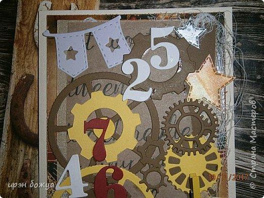 Всем здравствуйте. Еще одна открытка на День Рождение мужчине. В работе использованы вырубки, бинт, декор-прищепка. фото 6