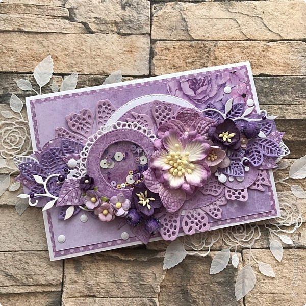 Я раньше не любила фиолетовый, сиреневый, лавандовый цвет... А сейчас я его обожаю:) А виновники этому мои клиенты:) и красивая бумага;) Сделала я эту открытку легко, не зависала в раздумьях... Во первых потому что цвет уже любимый, а во вторых  там фотография с красивыми людьми. Она  и задала тон и планку. фото 1