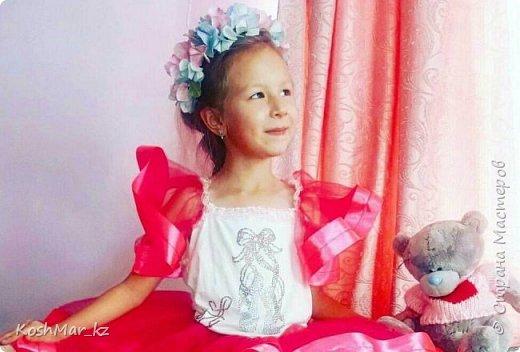 Ободок с цветами гортензии «Нежность» нежно розового и голубого цвета  фото 5