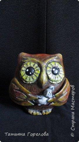 """Эту сову из папье-маше сделала в подарок хорошему человеку. Попробовала сделать ее на основе ячеек из-под фруктов авакадо. Получилась плоская ( среди людей бывают тоже разные ). """"Поймала"""" для нее мышку: пусть поправляется. фото 1"""