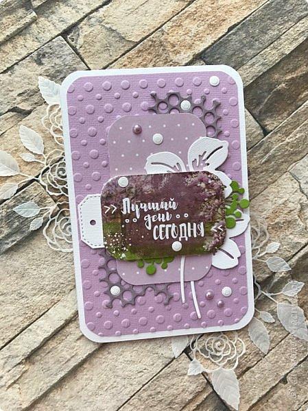 """Посмотрела я тут таблицу цветов """"фиолетовые оттенки"""" на  lookcolor.ru ,  я даже предположить не могла что их столько:) Пересмотрев се, решила, что это или лиловая опера, или светло лиловый, или цвет пурпурной орхидеи:) А согласно фен-шуй, оказывается, лиловый цвет символизирует жизненную силу, а в китайской классической поэзии означает положительную духовную силу.  Эта открытка из подарочных полос ( которые присылают с заказом)  моей любимой бумаги Galeria Papiery фото 6"""