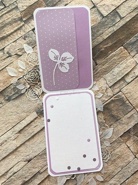 """Посмотрела я тут таблицу цветов """"фиолетовые оттенки"""" на  lookcolor.ru ,  я даже предположить не могла что их столько:) Пересмотрев се, решила, что это или лиловая опера, или светло лиловый, или цвет пурпурной орхидеи:) А согласно фен-шуй, оказывается, лиловый цвет символизирует жизненную силу, а в китайской классической поэзии означает положительную духовную силу.  Эта открытка из подарочных полос ( которые присылают с заказом)  моей любимой бумаги Galeria Papiery фото 8"""