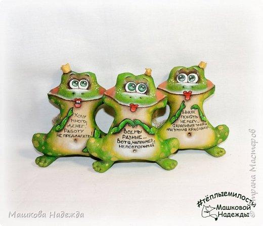Всем привет! Я к вам сегодня с зеленым позитивом!))) Лягушки-Царевны!  Игрушки сшиты из бязи, наполнены синтепоном, покрыты кофейным раствором и расписаны акриловыми красками. И самое главное, заряжены хорошим настроением!!!    фото 3