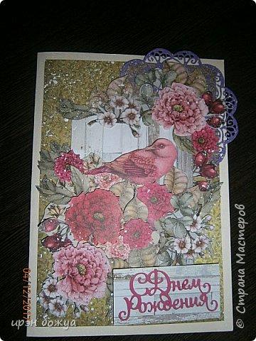 Всем привет. Сегодня у меня две разноплановые открытки. С шарами- это пришел новый ножик для машинки и такая с птичкой- бумага дюже красивая. фото 4