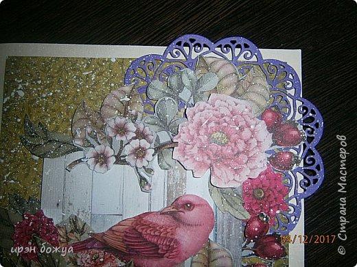 Всем привет. Сегодня у меня две разноплановые открытки. С шарами- это пришел новый ножик для машинки и такая с птичкой- бумага дюже красивая. фото 5