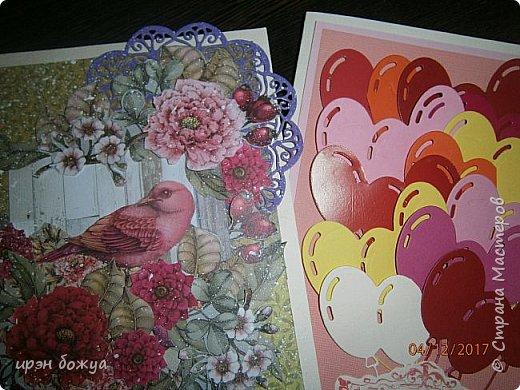 Всем привет. Сегодня у меня две разноплановые открытки. С шарами- это пришел новый ножик для машинки и такая с птичкой- бумага дюже красивая. фото 1