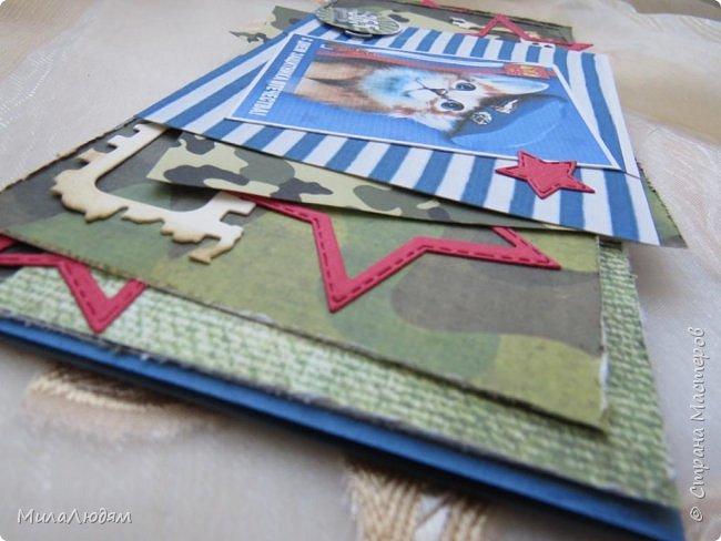 Всем доброго времени суток! Продолжаю тему 23 февраля Дню защитника Отечества. Сделала две открыточки для сына и для мужа. Кто со мной давно знаком, тот знает, что я люблю тематические открытки, личностные, только для этого человека. фото 6