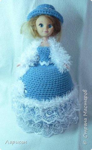 Куклу-шкатулку сделала в подарок .Просили в голубом или фиолетовом цвете, дома нашлись голубые ниточки, которые остались после вязки пледа для Вани... Вот и получилась  такая красавица...  фото 1