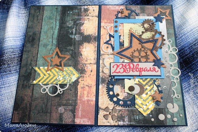 Всем здравствуйте! Я опять с темой 23 февраля. Сделала куму открытку, которая левая (я ее уже показывала), и когда тут выставляла, поняла, что она лучше подходит к Дню рождения. И срочно сделала другую, которая справа. Это лифтинг. Я ее сразу хотела делать, но пришли ножи алфавит и сбили меня с толку. фото 15