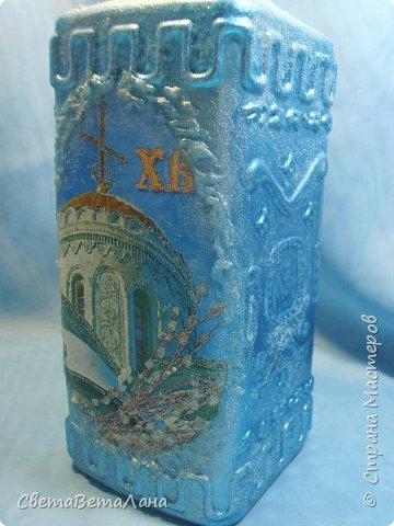 """Доброе время суток Страна и её Обитатели...опять я подсела на утилизацию баночек - бутылочек..... .....сегодня у меня """"замороженная"""" бутылочка под святую воду и очередная баночка с натирками....... фото 7"""