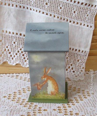 Здравствуйте, мои дорогие жители СМ! Скоро 8 Марта, и я от всей души поздравляю всех женщин нашей Страны, а Страны Мастеров особенно! Показываю вам Домик для чайных пакетиков по мотивам сказки Сэма Макбратни, который я сделала в подарок своей невестке.  фото 3