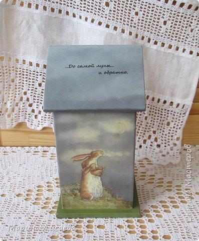 Здравствуйте, мои дорогие жители СМ! Скоро 8 Марта, и я от всей души поздравляю всех женщин нашей Страны, а Страны Мастеров особенно! Показываю вам Домик для чайных пакетиков по мотивам сказки Сэма Макбратни, который я сделала в подарок своей невестке.  фото 6