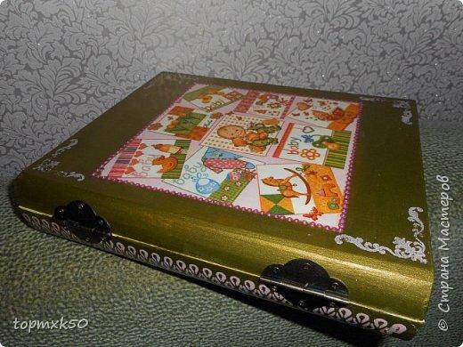 Шкатулка-книга. Сделала для новорождённого внука на память. фото 2