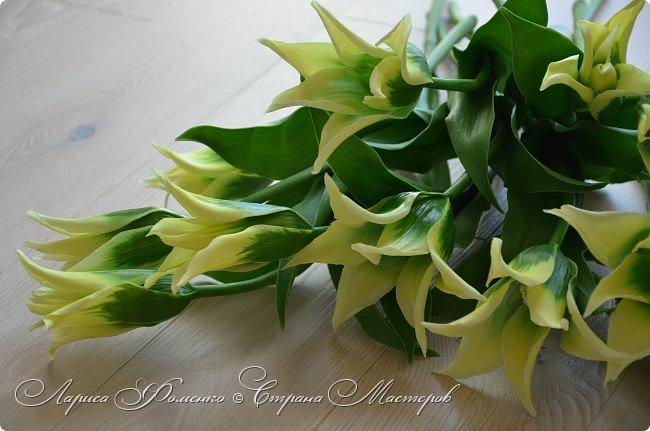 """Закончила работу над такими """"необычными"""" тюльпанами. На последнем фото - живые цветы! Это они меня вдохновили на создание этого букета. фото 6"""