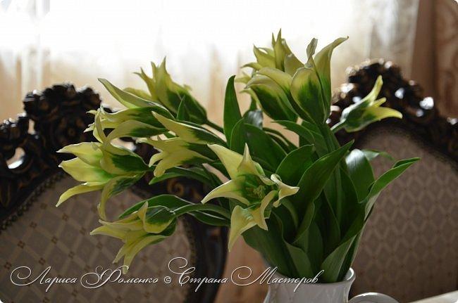 """Закончила работу над такими """"необычными"""" тюльпанами. На последнем фото - живые цветы! Это они меня вдохновили на создание этого букета. фото 8"""