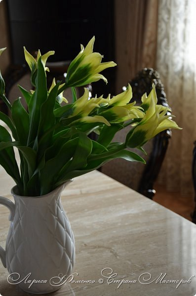 """Закончила работу над такими """"необычными"""" тюльпанами. На последнем фото - живые цветы! Это они меня вдохновили на создание этого букета. фото 4"""
