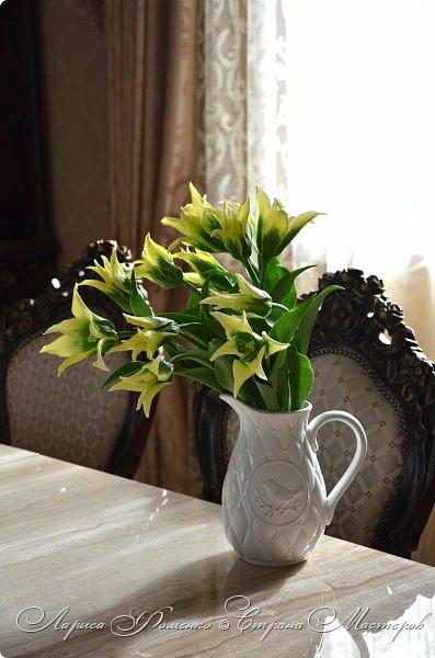 """Закончила работу над такими """"необычными"""" тюльпанами. На последнем фото - живые цветы! Это они меня вдохновили на создание этого букета. фото 9"""