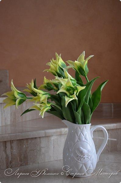 """Закончила работу над такими """"необычными"""" тюльпанами. На последнем фото - живые цветы! Это они меня вдохновили на создание этого букета. фото 7"""