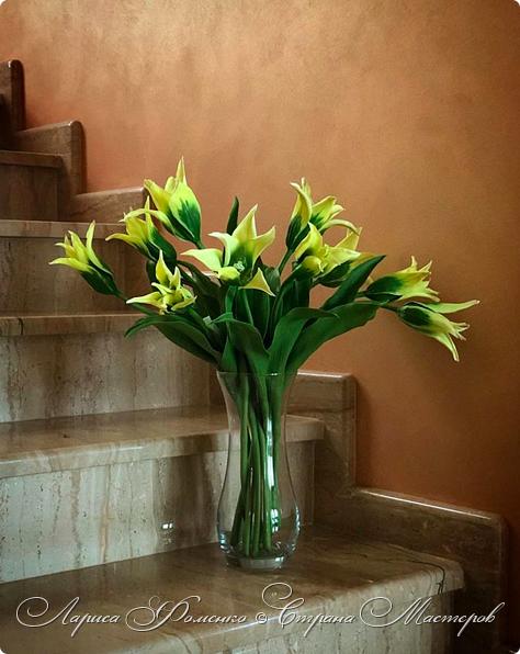 """Закончила работу над такими """"необычными"""" тюльпанами. На последнем фото - живые цветы! Это они меня вдохновили на создание этого букета. фото 2"""